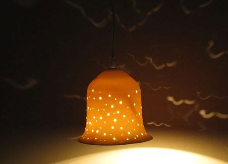 lights fixtures- Small porcelain bell, hanging, 13 cm high