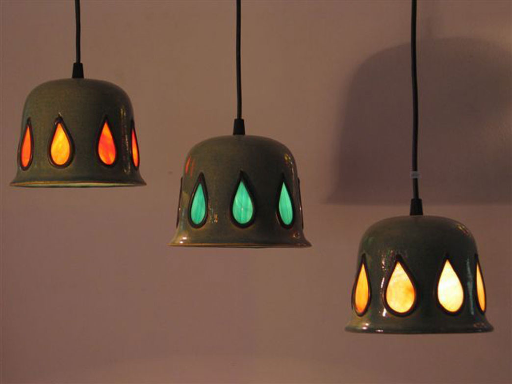 lights- Three ceramic bells, set with vitrage