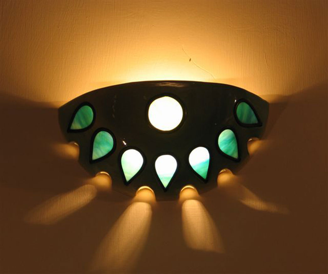 lights- Wall-mounted light fixture, ceramic, set with vitrage, 32 cm diameter