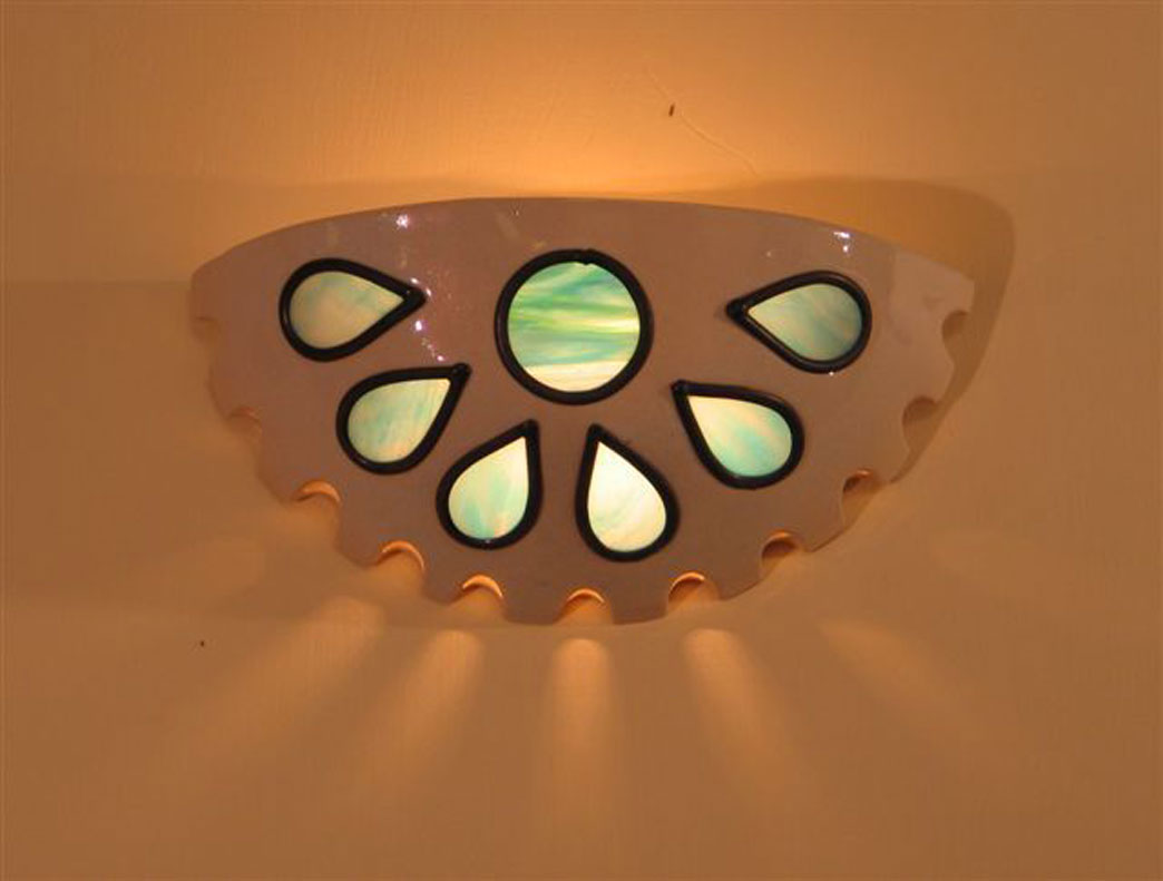 lights- Ceramic wall-mounted light fixture, set with vitrage, 32 cm wide