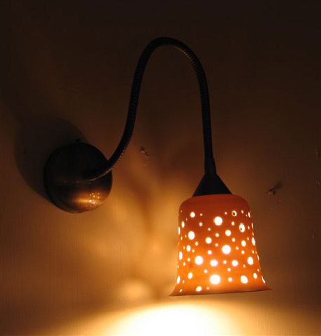 lights fixtures- Small porcelain bell, 11 cm high, large holes