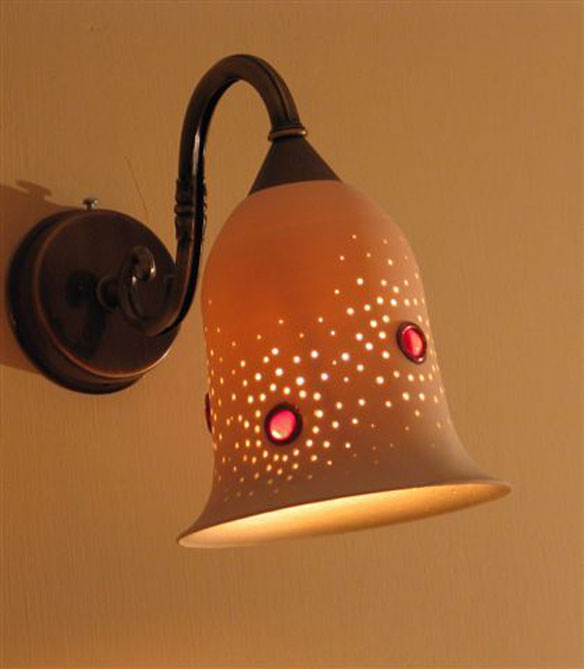 lights fixtures- Medium porcelain bell, set with glass, 16 cm high