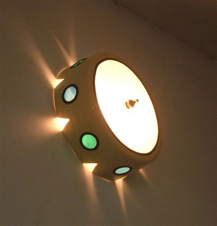 lights- Ceramic wall-mounted light fixture, set with vitrage, 23 cm diameter