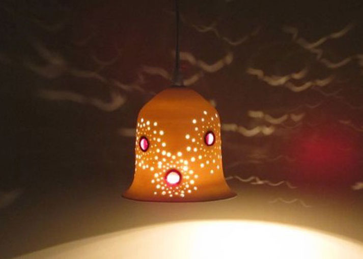 lights fixtures- Small porcelain bell, set with vitrage, hanging, 13 cm high