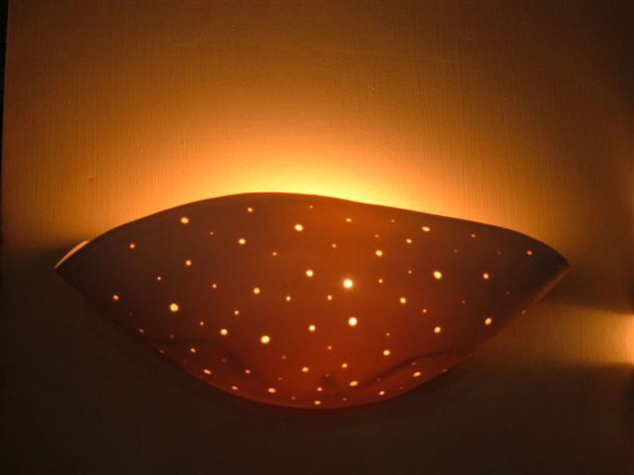 lights fixtures- Wall-mounted, perforated porcelain, 30 cm wide, 10 cm high