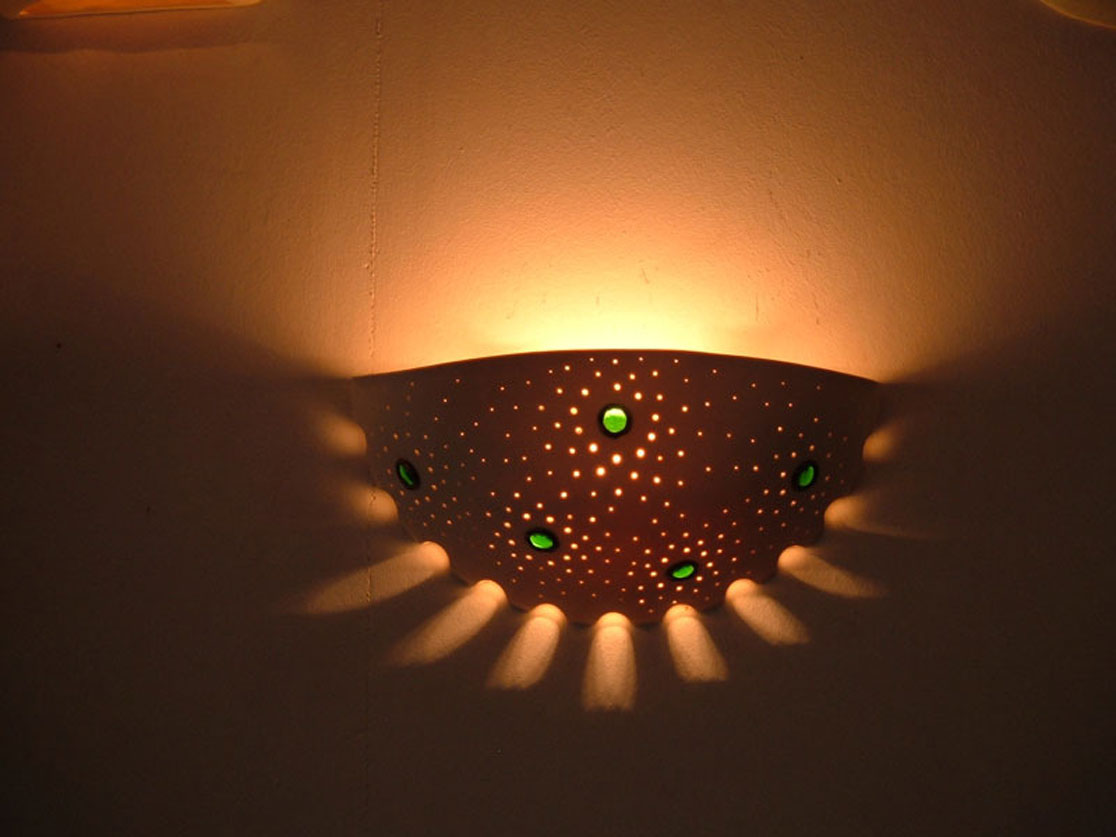 lights fixtures- Wall-mounted, perforated porcelain, decorated with glass, 29 cm wide, 13 cm high