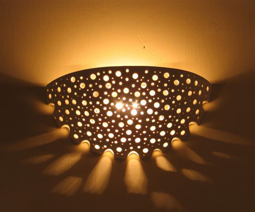 lights fixtures- Wall-mounted, perforated porcelain, 29 cm wide, 13 cm high